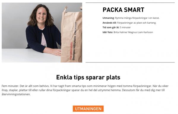 Brita Hahne visar hur du kan packa källsorteringen smart