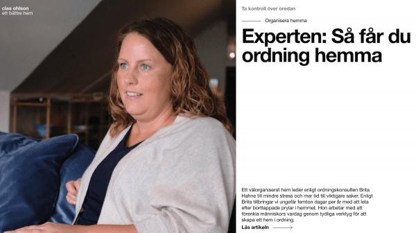 """Brita Hahne - Ordningsexpert i Clas Ohlsons kampanj """"Ett bättre hem"""""""
