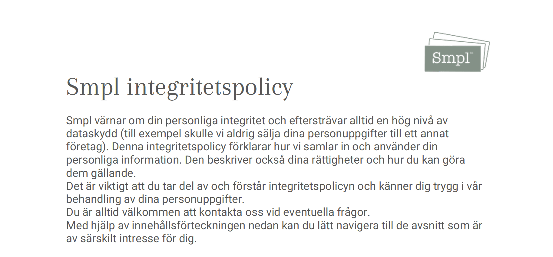 Smpl integritetspolicy